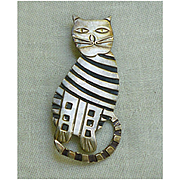 Mexico Sterling Silver Black Enamel Striped Kitty Cat Brooch