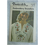 Vintage 1975 Butterick 4106 Ethnic Embroidery Transfers Pattern