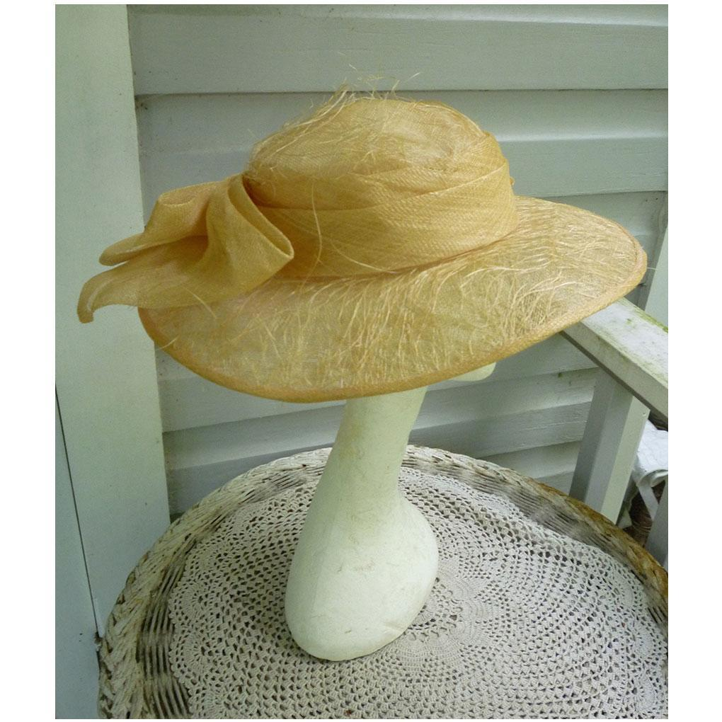 Natural Straw and Shell Pink Big Bow Trim Mary Jean Collection Vintage Hat