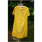 Elaborate Embroidered Flowers 1960's Yellow Cocktail Party Dress
