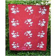 Red and White Dogwoods Vintage Wilendur Print Tablecloth