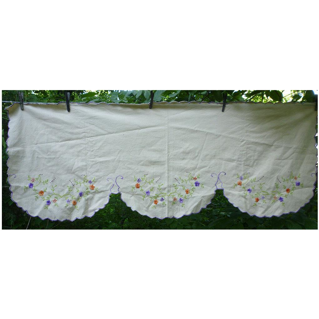 Embroidered Linen Dresser Top Piano or Mantel Runner