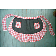 Stylish Red and White Gingham with Black Sheer Vintage Apron