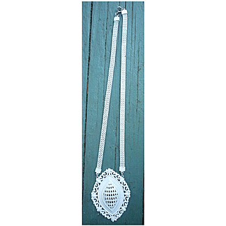 Oval Openwork White Enamel Pendant on Mesh Chain Necklace