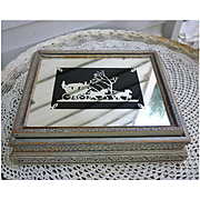 Mirror with Coach and Horses Silhouette Top Jewelry Box