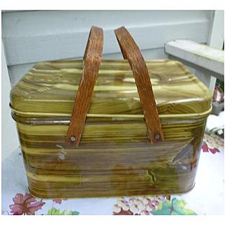Metal Tin Wood Grain Pattern Picnic Basket Wood Handles