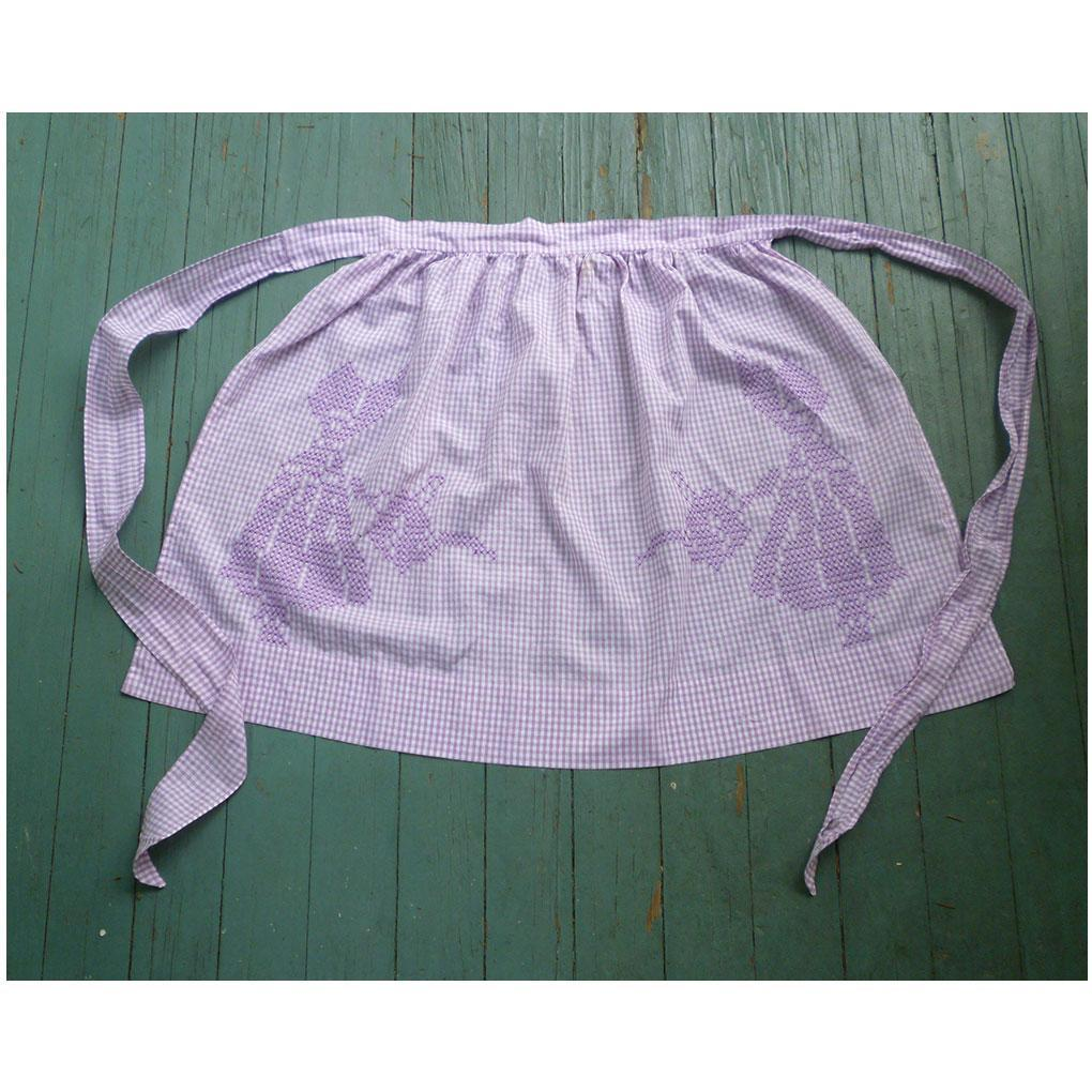 Lavender and White Gingham with Sunbonnet Ladies with Watering Cans Vintage Apron