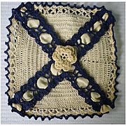 Elaborate Crochet and Satin Handkerchief Storage Bag