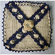 Elaborate Crochet and Satin Handkerchief Storage Bag
