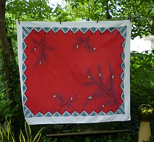 Big Pine Branches on Red Print 50's 60's Tablecloth