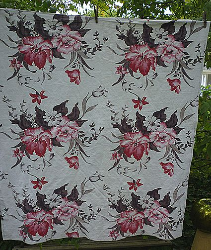 Huge Red and Pink Flowers Brown Leaves Barkcloth