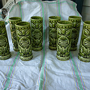 Set of 8 Green Luau Hut Maryland Vintage Tiki Mugs