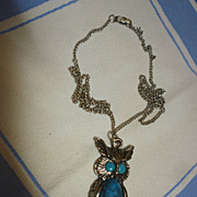 Sixties Owl Pendant on Chain Blue Eyes and Tummy