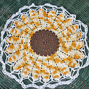 Sunflower Yellow Brown White Edging Crochet Centerpiece