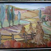 Impressionist Autumn Farm Painting Signed P Trout