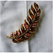 Ripe Berries Leaf Motif Gold Tone Enamel and Rhinestone Monet Brooch
