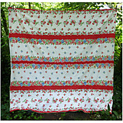 Red Strawberries and Red Blue Flowers Vintage 1950's Kitchen Towel Fabric