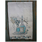 Vino Wine Decanter and Grapes Vintage Linen Dish Towel