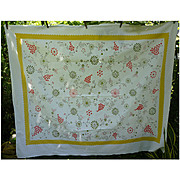 Startex Starmont Vintage Tablecloth Flowers Butterflies Print Yellow Border