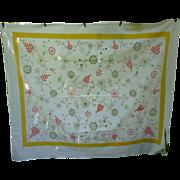 Startex Starmont Vintage Tablecloth Flowers Butterflies Print Yellow Border
