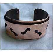 Modernist Design F Holes Copper Cuff Bracelet