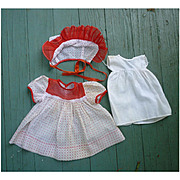 Dotted Swiss Doll Dress Bonnet and Slip Set