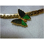 Vintage Avon Green Enamel Butterfly Necklace