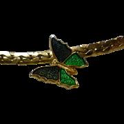 Vintage Avon Green Enamel Butterfly Necklace