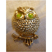 Vintage Sarah Coventry Owl Brooch Yellow Rose Montee Rhinestone Eyes