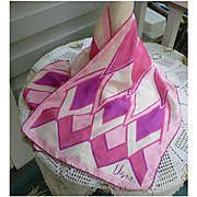 Vintage Vera Pop Art Big Chevrons Pink Fuschsia and White Silk Scarf