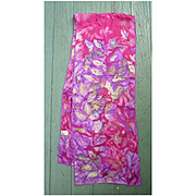 Vintage Vera Fluid Red Purple Green Leaves Silk Scarf