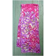 Vintage Vera Fluid Red Purple Green Leaves Silk Scarf