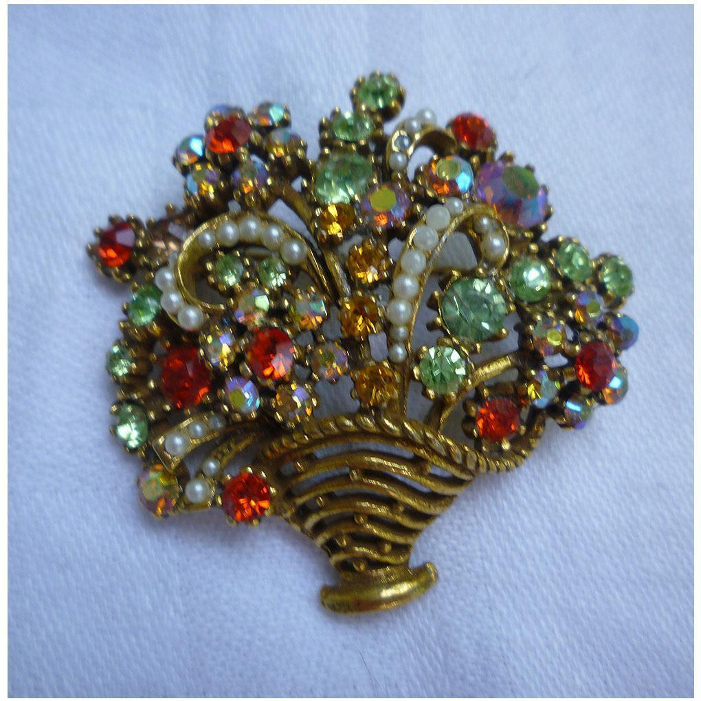 Rhinestones and Simulated Pearls Large Flower Basket and Flowers Vintage Brooch Signed ©Art