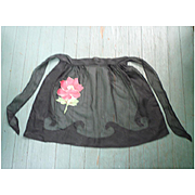 Pretty Floral Pocket and Black Sheer Vintage Apron