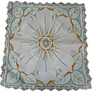 Dark and Light Yellow Brown Green Flower Arts & Crafts Embroidery Linen Square Centerpiece