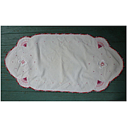 Pink and White Flowers Arts & Crafts Embroidery Linen Runner or Centerpiece