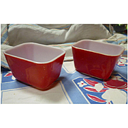 Pair Pyrex Primary Colors Red 501 Leftovers Refrigerator Dishes No Lids