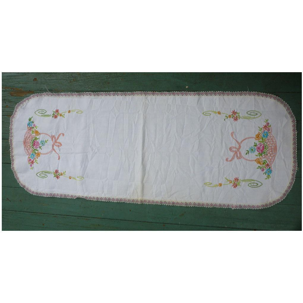 Pink Flower Baskets Embroidered Runner Lace Trim