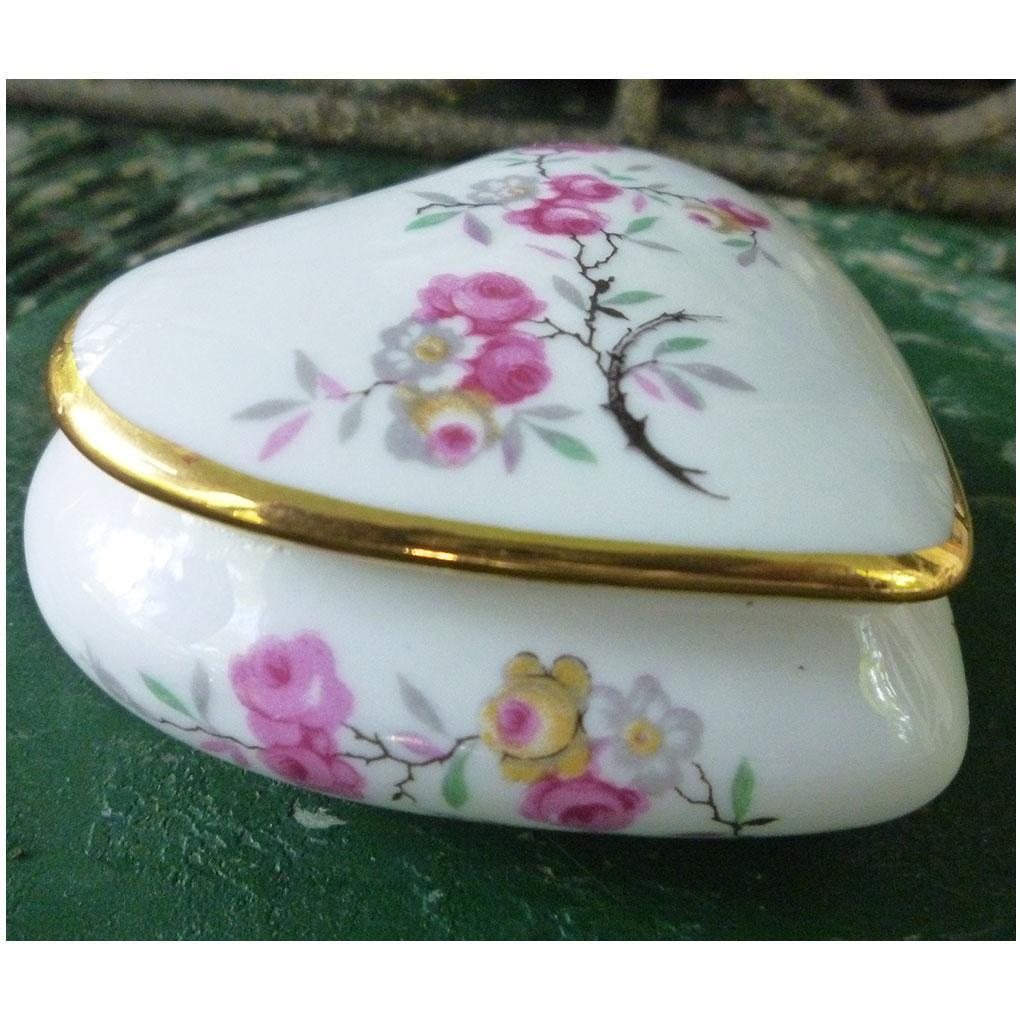 Lovely Limoges Floral Heart Trinket Box