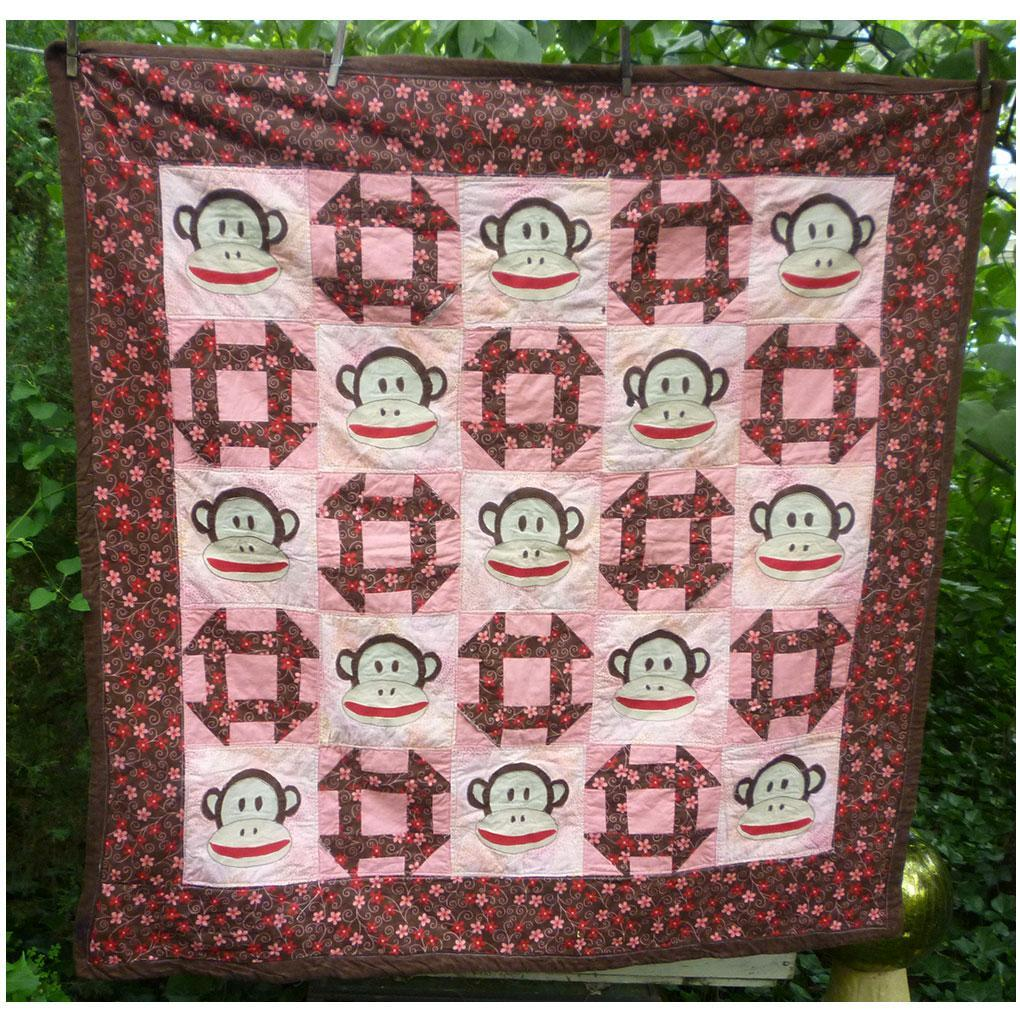 Sock Monkey Applique and Patchwork Quilt