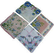 Pink and Blue Floral Group of 4 Vintage Handkerchiefs