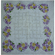 Vintage Yellow and Purple Primroses Handkerchief