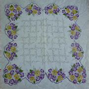 Vintage Yellow and Purple Primroses Handkerchief