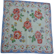 Vintage Red Roses Blue Yellow and Green Print Handkerchief