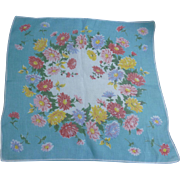 Vintage Aqua Blue Yellow Red and Green Floral Print Handkerchief
