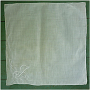 Fine White Linen Embroidered Monogram J Handkerchief