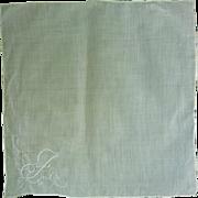 Fine White Linen Embroidered Monogram J Handkerchief