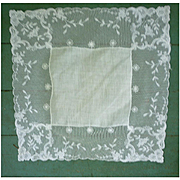 Fine White Linen Roses Lace Wide Border Handkerchief.