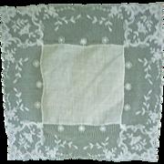 Fine White Linen Roses Lace Wide Border Handkerchief.