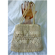 Old Ecru Hand Crochet Handbag